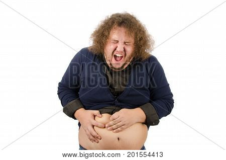 Diarrhea and stomach problems. Funny fat man.