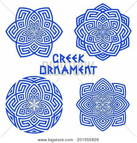 Vector set of blue design elements with Greek motifs isolated on white background. Round square hexagonal patterns folk ornament meander. For decorating tableware textiles in ethnic style.