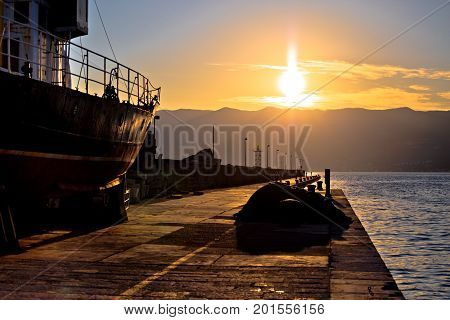 City Of Rijeka Breakwater At Sunset View
