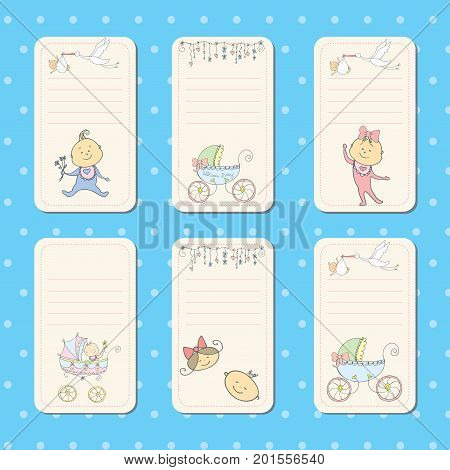 Set of  cards for newborn baby. Vector templates for scrapbooking, greeting or gift cards, patterns, art decoration