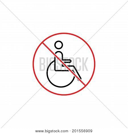 No Disabled Sign On White Background