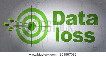 Success Information concept: arrows hitting the center of target, Green Data Loss on wall background, 3D rendering