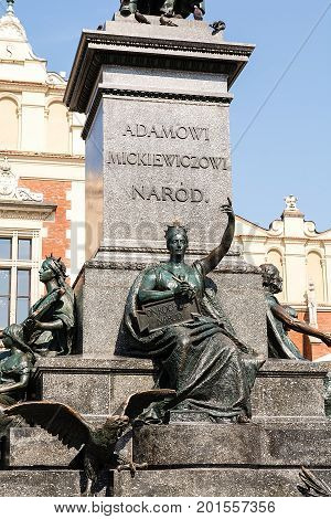 Monument of polish poet - Adam Mickiewicz - at market square in Krakow (Poland)