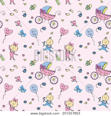 Vector seamless pattern with baby elements. Newborn accessories repeating background in doodle style for textile