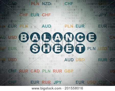 Currency concept: Painted blue text Balance Sheet on Digital Data Paper background with Currency