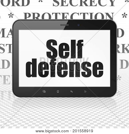 Security concept: Tablet Computer with  black text Self Defense on display,  Tag Cloud background, 3D rendering