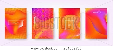 Set of modern fluid abstract backgrounds. Diffuse colored spots background. Vector template for banners, placards, poster, pop art flyers, presentations and annual reports. Hipster style. A4 size