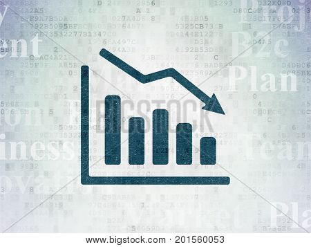Business concept: Painted blue Decline Graph icon on Digital Data Paper background with  Tag Cloud