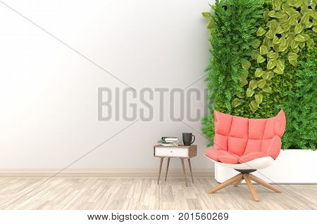 White living room interior with rose fabric armchair ,coffee cup and plants on empty white wall background.3d rendering