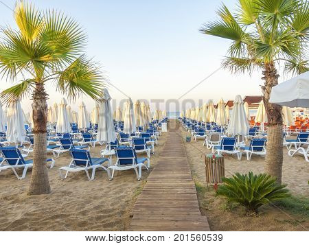 Sandy Beach To Sea With Wooden Footpath, Sun Beds, Umbrellas, Palm Trees, Turkey, Side Resort