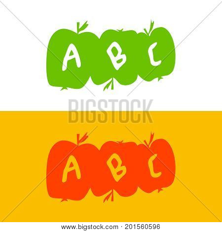 apple made of alphabet letters. ABC school apples. Development of children. Three apples with the letters ABC.