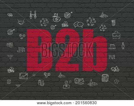 Finance concept: Painted red text B2b on Black Brick wall background with  Hand Drawn Business Icons