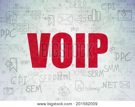 Web design concept: Painted red text VOIP on Digital Data Paper background with  Scheme Of Hand Drawn Site Development Icons