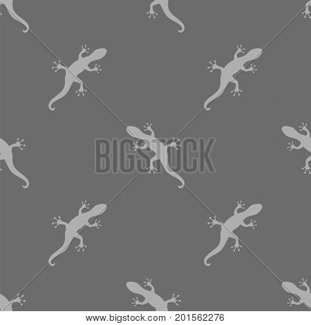Silhouettes of Salamander Seamless Pattern on Grey Background