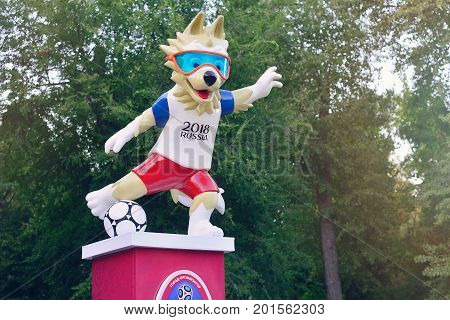 ROSTOV-ON-DON RUSSIA - AUGUST 2017 The official mascot of the 2018 FIFA World Cup and the FIFA Confederations Cup 2017 wolf Zabivaka.