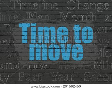 Timeline concept: Painted blue text Time to Move on Black Brick wall background with  Tag Cloud