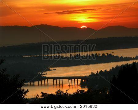 Sunset Over Olympic Mountains And Lake Washington, Somerset Washington