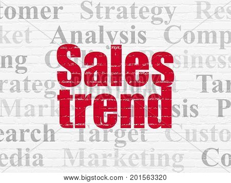 Marketing concept: Painted red text Sales Trend on White Brick wall background with  Tag Cloud