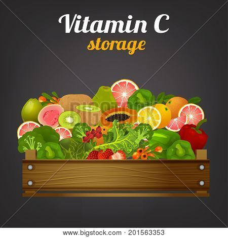 Wooden crate with high vitamin C fruits and vegetables.  Fruit drawer front view. Ripe and fresh grocery in fruiterer box. Vector illustration isolated on a dark grey background.