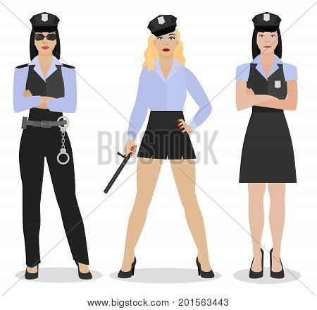Police women in sexy uniforms. Vector illustration in flat style isolated on a white background.