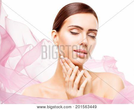 Woman Beauty Makeup Face Skin Care Natural Make Up Beautiful Model Touching Neck Chin eyes closed