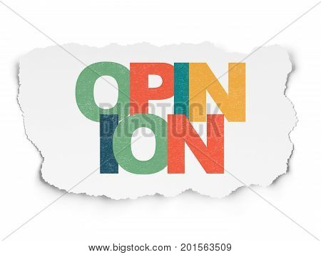 Marketing concept: Painted multicolor text Opinion on Torn Paper background