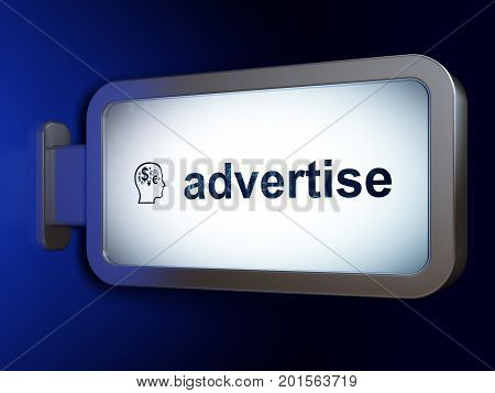 Advertising concept: Advertise and Head With Finance Symbol on advertising billboard background, 3D rendering