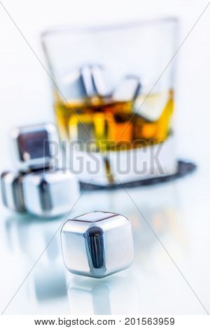 Stainless Steel Fake Ice Cubes With Whiskey Glass