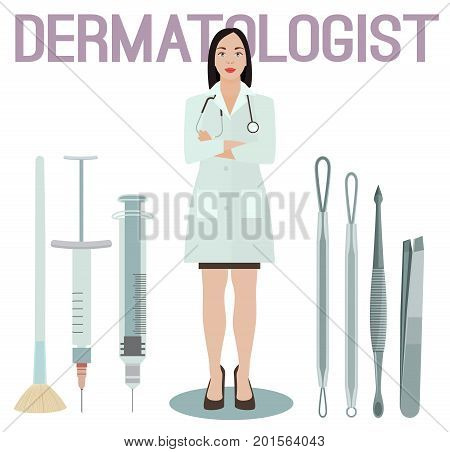 Dermatologist and her tools. Different loops, etractors, syringe and other equipment. Dermatology and cosmetology concept. Vector illustration isolated on a white background.