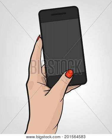 Woman hand holding a cell phone shooting a picture. Photo-sharing on smartphone. Vector illustration isolated on a light grey background.