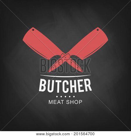 Butcher meat shop logo design. Retro butcher shop icon on chalkboard background. Vector