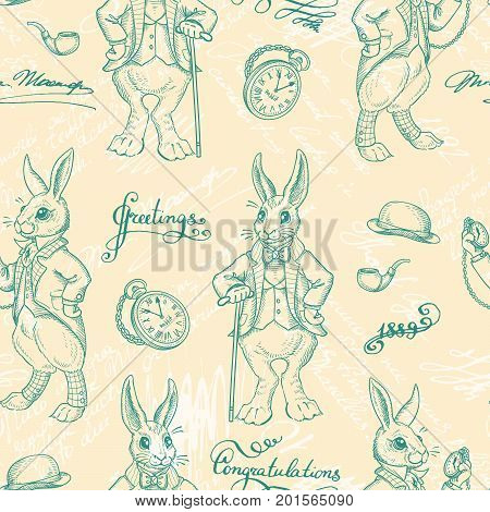 Seamless pattern with rabbits. Retro ornament. English fairy tale character. White rabbit with a clock and a cane. Vintage background, rabbits in the old English costume. Hand drawn illustration.