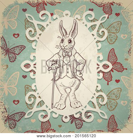 Vintage background with Easter rabbit. Hand drawn illustration. Rabbit in the English suit on a background of butterflies ornament. Bunny in clothes.