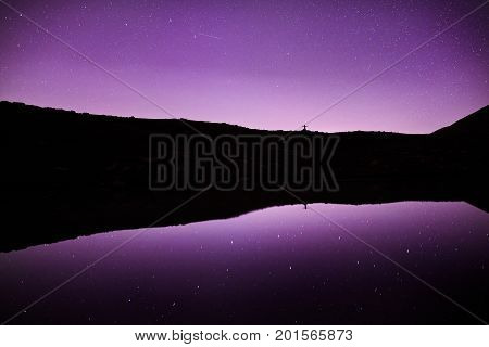 Man In The Mountains At Starry Night Sky