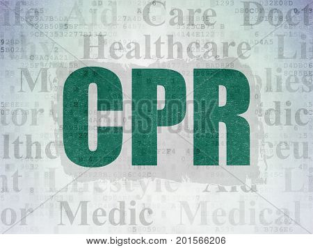 Healthcare concept: Painted green text CPR on Digital Data Paper background with   Tag Cloud