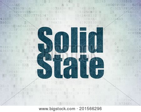 Science concept: Painted blue word Solid State on Digital Data Paper background