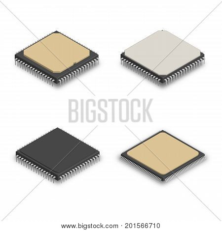 Set of processors of different shapes isolated on white background. Elements design of electronic components. 3D isometric style vector illustration.