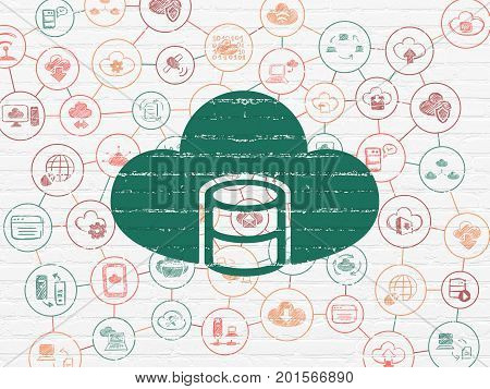 Cloud networking concept: Painted green Database With Cloud icon on White Brick wall background with Scheme Of Hand Drawn Cloud Technology Icons