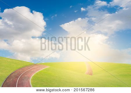 Running track on the mini mountain with cloud and sky