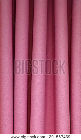 Heavy Pink Felt Pleated Textile Curtain Background