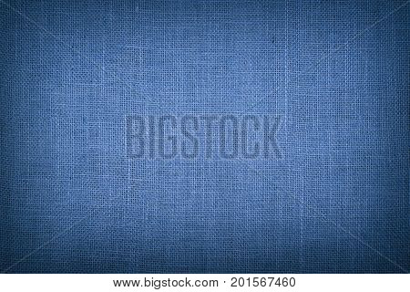 Blue Burlap Jute Canvas Background With Shade