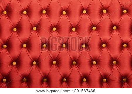Red Capitone With Golden Buttons Texture