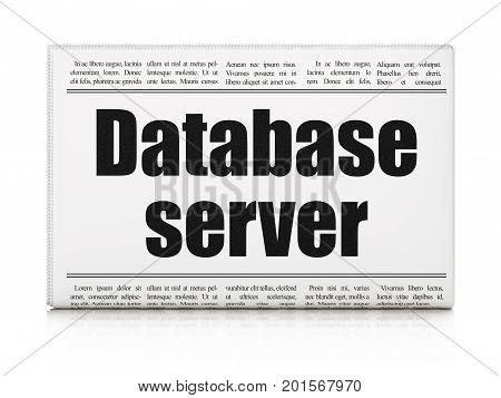Programming concept: newspaper headline Database Server on White background, 3D rendering