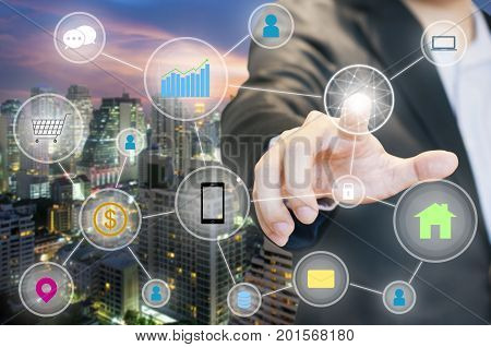 Businessman Connected Network For Link Internet Of Things Easy To Managed Lifestyle In One Touched W
