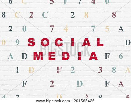 Social media concept: Painted red text Social Media on White Brick wall background with Hexadecimal Code