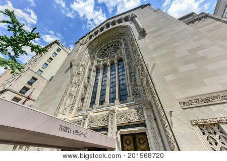 New York City - June 25 2017: Temple Emanu-El was the first Reform Jewish congregation in New York City and because of its size and prominence has served as a flagship congregation in the Reform branch of Judaism.