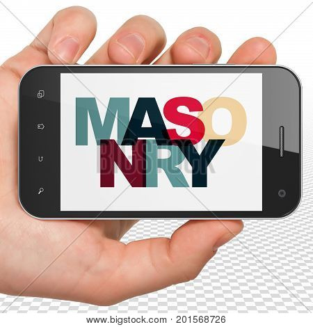 Construction concept: Hand Holding Smartphone with Painted multicolor text Masonry on display, 3D rendering