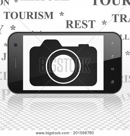 Travel concept: Smartphone with  black Photo Camera icon on display,  Tag Cloud background, 3D rendering
