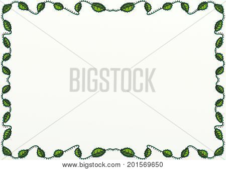 A hand drawn doodle style page border decoration with green leaves and copy space.