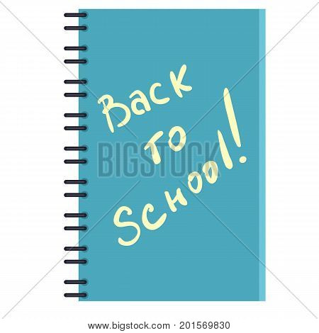 Vector Turquoise Notebook With Text: Back To School